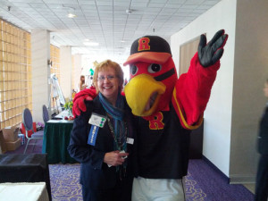 Making Priime-Connections with Spikes, Rochester Red Wings baseball mascot.